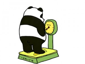 体重計にのるパンダ